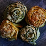 Girelle di zucchine aromatiche/ Zucchini rolls with herbs.