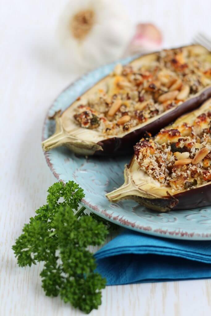 "Melanzane ripiene ""alla greca""/ Greek style stuffed eggplants."