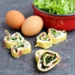 Rotolini di frittata al caprino/ Omelette rolls with goat's cheese.