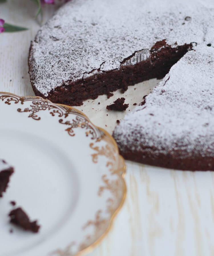 Tenerina senza glutine/ Flourless gluten free chocolate cake.