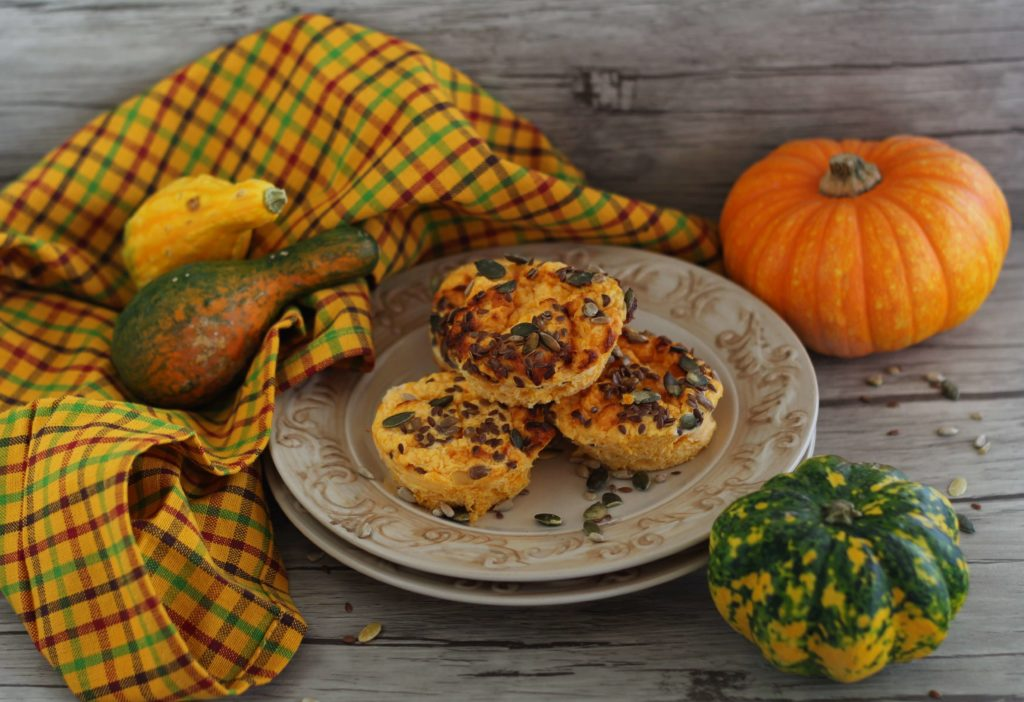 Healthy pumpkin and ricotta savoury cakes.