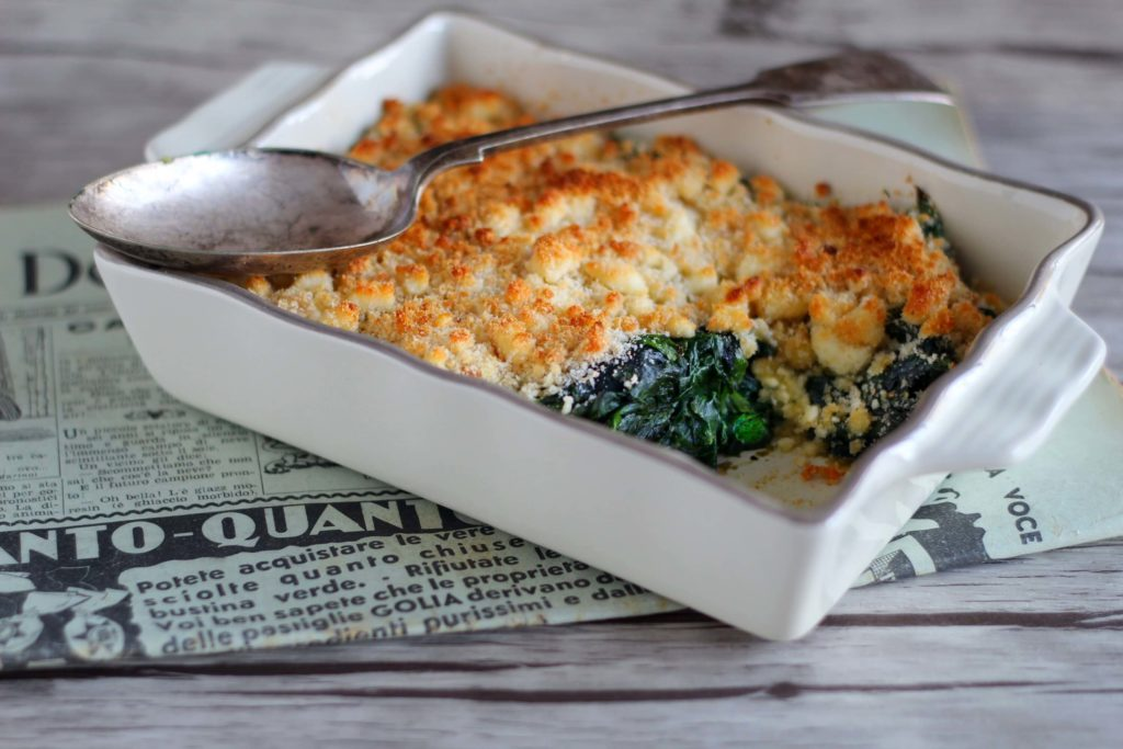 Spinach savoury crumble.