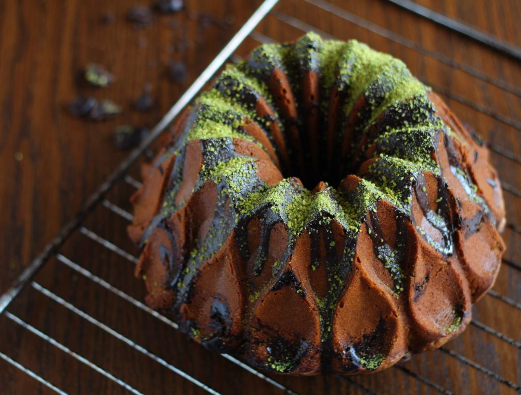 Pistachio and chocolate marbled bundt cake.